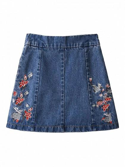 DaysCloth Blue High Waist Embroidery Floral A-line Denim Skirt