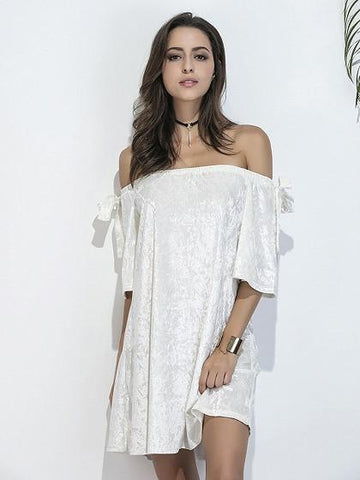 DaysCloth White Off Shoulder Bow Sleeve Crushed Velvet Dress