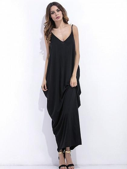 DaysCloth Black V Neck Drape Hareem Cami Maxi Dress