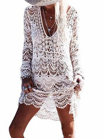 DaysCloth Beige Plunge Crochet Lace Long Sleeve Beach Dress