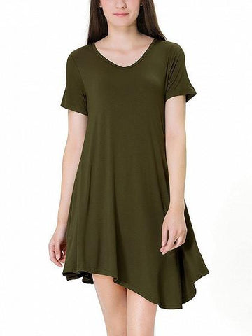 DaysCloth Army Green Asymmetric Hem Short Sleeve Tee Dress