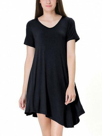 DaysCloth Black Asymmetric Hem Short Sleeve Tee Dress