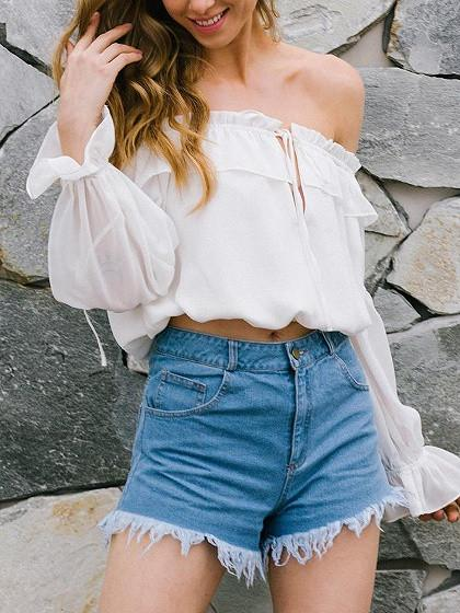DaysCloth White Off Shoulder Ruffle Slit Bell Sleeve Top