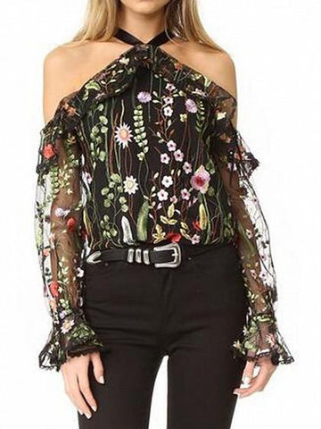DaysCloth Black Halter Cold Shoulder Floral Embroidery Sheer Mesh Blouse