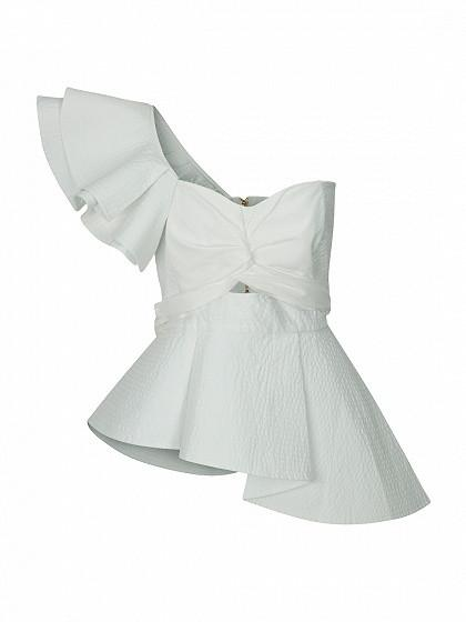 DaysCloth White One Shoulder Knot Front Cut Out Ruffle Tie Waist Peplum Blouse