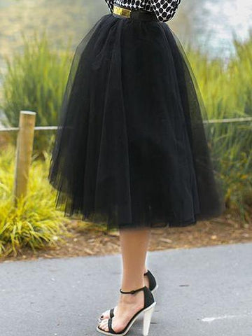 Black High Waist Tulle Mesh Skater Skirt
