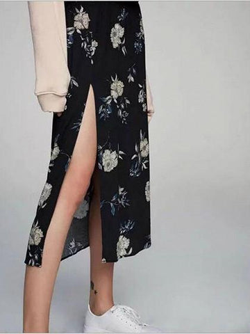 DaysCloth Black High Waist Floral Printed Side Split Midi Skirt
