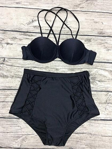 Black Strappy Padded Bikini Top And High Waist Bottom