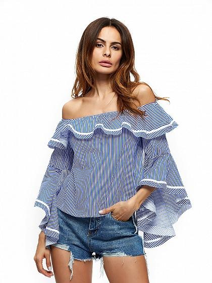 DaysCloth Blue Off Shoulder Stripe Colorblock Ruffle Flared Bell Sleeve Blouse