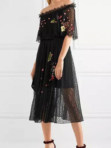 Black Off Shoulder Embroidery Floral Sheer Lace Midi Dress