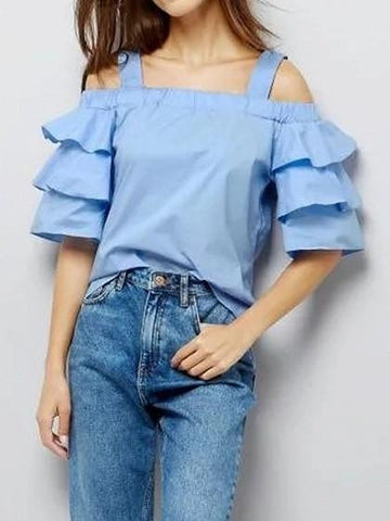 Blue Off Shoulder Ruffle Sleeve Blouse Top