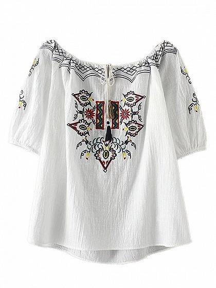 DaysCloth White SShort Sleeve Embroidery Tie Front Blouse