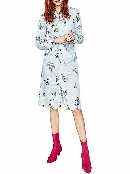 DaysCloth Blue Stripe And Floral Prited Twist Front Long Sleeve Shirt Dress