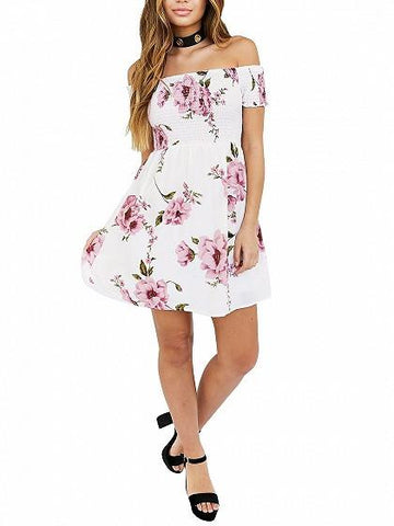 White Stretch Off Shoulder Floral Short Sleeve Mini Dress