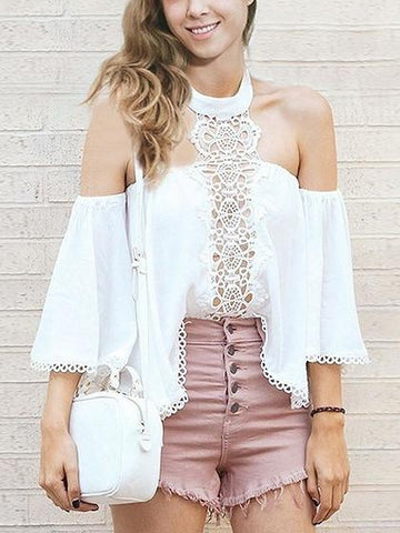 White Halter Cut Out Lace Panel Off Shoulder Blouse