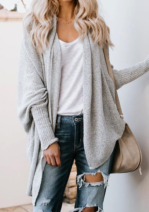 DaysCloth Grey Irregular High-low Oversize Going out Casual Cardigan Sweater