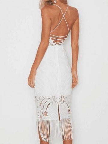 White V-neck Spaghetti Strap Back Cross Tassel Hem Bodycon Lace Dress