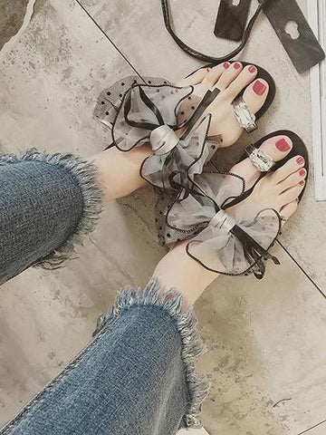 Gray Bow And Crystal Embellished Flat Sandals