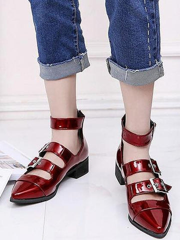 DaysCloth Burgundy Buckle Strap Pointed Toe Ankle Shoes