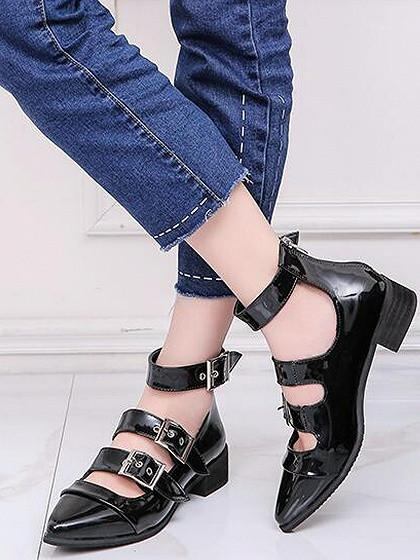 Black Buckle Strap Pointed Toe Ankle Shoes