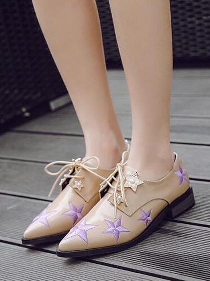 Beige Pointed Toe Star Embellished Lace Up Shoes