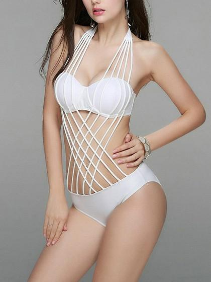 White Halter Lattice Cross Strappy Tie Back Swimsuit