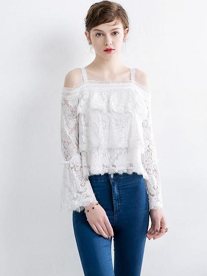 DaysCloth White Layer Ruffle Cold Shoulder Bell Sleeve Lace Top