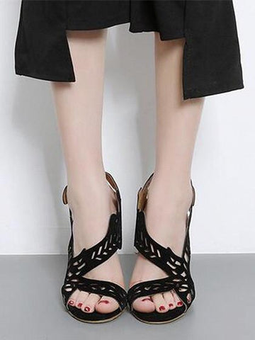 DaysCloth Black Cut Out Faux Suede Heeled Sandals