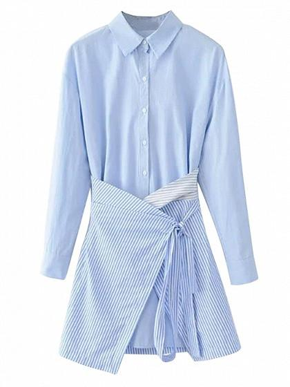 DaysCloth Blue Long Sleeve Asymmetric Bottom 2 in 1 Shirt Dress