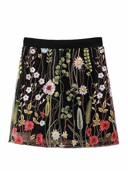 DaysCloth Black Embroidery Floral Elastic Waist Mesh Mini Skirt