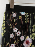 Black Embroidery Floral Elastic Waist Mesh Mini Skirt