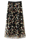 Black High Waist Embroidery Floral Mesh Midi Skirt