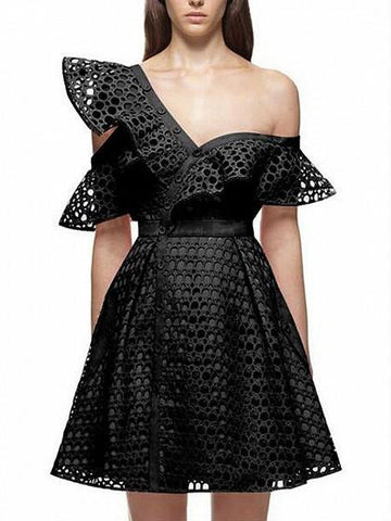 DaysCloth Black Cutwork Lace Hollow Asymmetric Frill Skater Dress