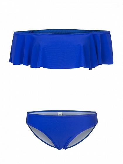DaysCloth Blue Ruffle Off The Shoulder Bikini Top and Bottom