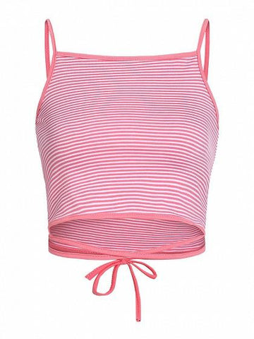 Coral Stripe Square Neck Tie Waist Cami Top
