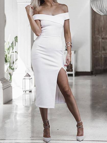 DaysCloth White Off Shoulder Fold Split Midi Bodycon Dress