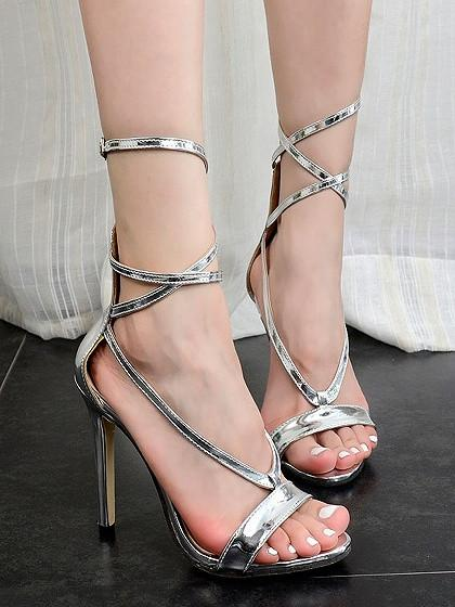 Silver Strappy Zip-back Heeled Sandals