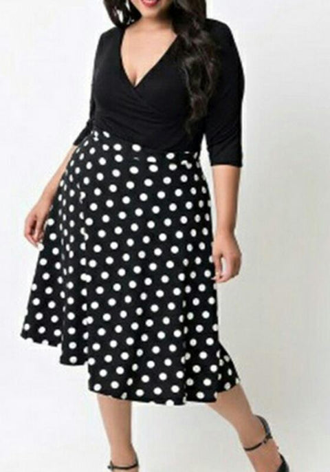DaysCloth Black Polka Dot Plus Size Deep V-neck 3/4 Sleeve Party Midi Dress