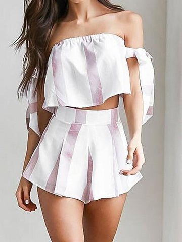White Tie Sleeve Bardot Crop Top and Pleated Culotte Shorts