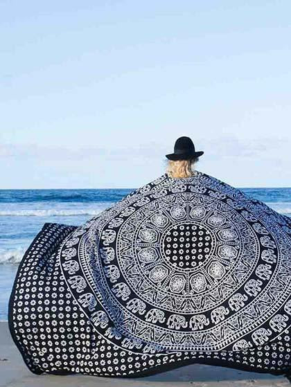 Beach Boho Monochrome Beach Blanket