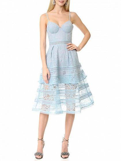DaysCloth Blue Cupped Paisley Lace Cami Midi Skater Dress