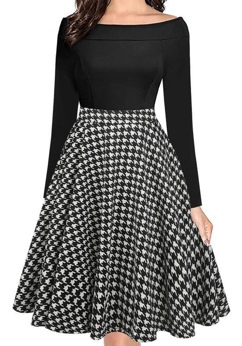 DaysCloth Black-White Plaid Draped Pockets Off Shoulder Tutu Party Midi Dress