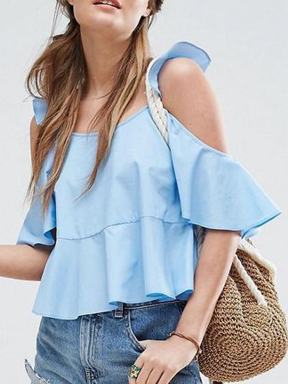 DaysCloth Blue Cold Shoulder Ruffle Detail Blouse