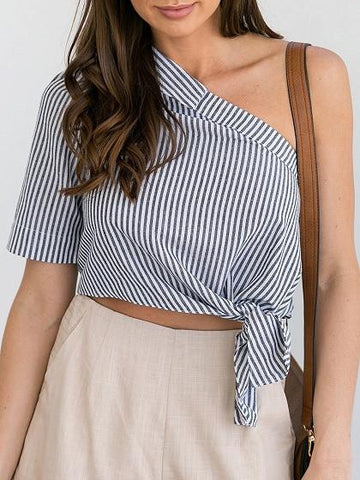 Black Stripe One Shoulder Tie Front Crop Shirt