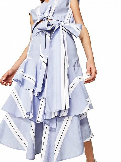 Blue Stripe Bow Waist Ruffle Skirt