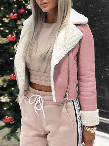 Pink Zipper Long Sleeve Casual Sweet Going out Coat