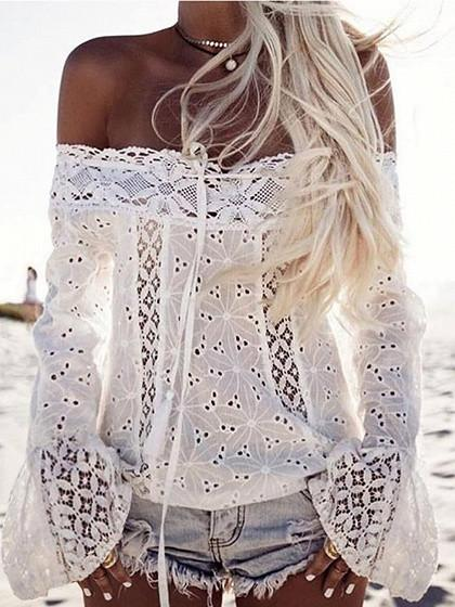 DaysCloth White Off Shoulder Bell Sleeve Cutwork Lace Panel Top
