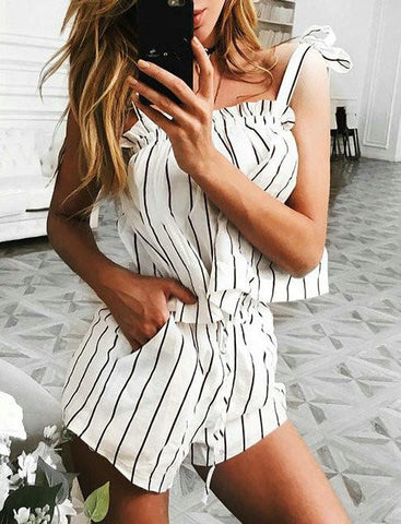 DaysCloth Instant Vacation Sexy Haltel Striped Romper
