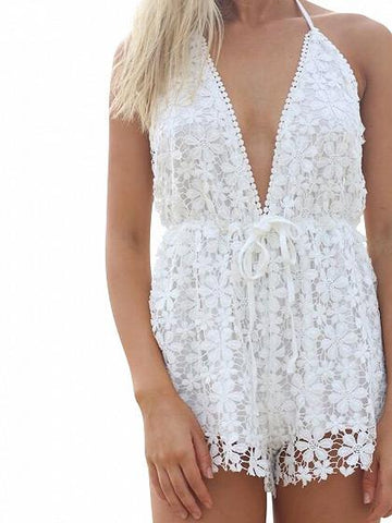 DaysCloth White V-neck Halter Backless Lace Romper Playsuit