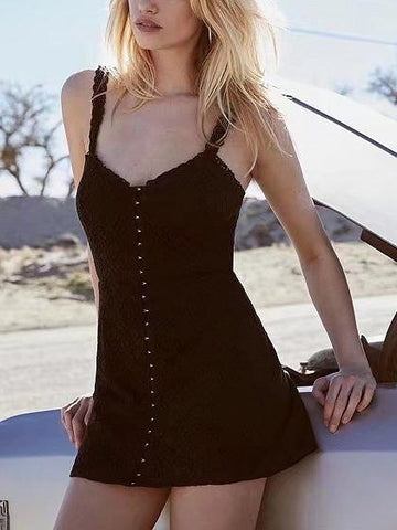 DaysCloth Black V-neck Lace Mini Tank Dress